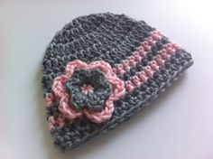 Crochet Baby Hat, Baby Girl Hat, Newborn Prop, Baby Hat, Baby Girl Beanie, Gray Pink, Stripes, 0 to 3 Months