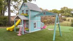 Girly Extreme Dollhouse with swing beam by ImagineThatPlayhouse www.Imaginethatplayhouses.com