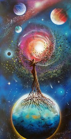 56 Ideas Mother Nature Artwork Trees Life For 2019 Fantasy Kunst, Fantasy Art, Nature Artwork, Tree Of Life Artwork, Tree Of Life Painting, Tree Art, Visionary Art, Galaxy Wallpaper, Psychedelic Art
