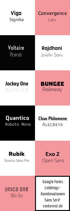 Dies sind aktuell einige meiner Lieblings Google Fonts. Sans Serif (weitgehend) und zu einem Teil recht neu. Einsetzbar in Beitragsbildern für Blogs und noch vielem mehr ...