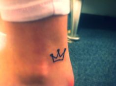 Crown tattoo, foot tattoo, small tattoo