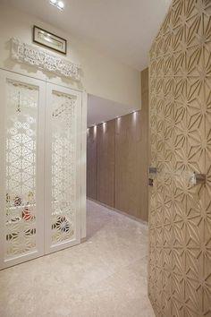 Pooja Room Door Designs That Beautify Your Mandir Entrance : Lazer cut white minimal pooja room door design // simple lazer pooja room door Temple Room, Home Temple, Temple Design For Home, Mandir Design, Pooja Room Door Design, Puja Room, Grades, Room Doors, Modern Room