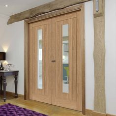 Laminates Hudson Oak Coloured Door Pair with Clear Safety Glass is Prefinished - Lifestyle Image.    #door #doors
