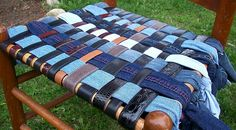 need a chair to re-seat. Just found a new idea to use old jeans and belts for.