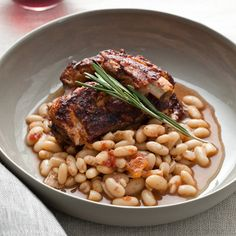Slow Cooker Glazed Pork Ribs with White Beans   Food & Wine