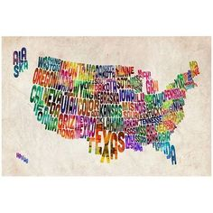 Trademark Art United States Text Map II Canvas Wall Art by Michael Tompsett, Size: 30 x 47, Multicolor
