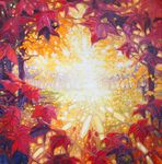 """Art Titled, """"An Autumn Dawn"""". 36"""" x 36"""" Painting by Artist, Gill Bustamante - Paintings for Sale in Sussex"""