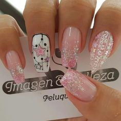 Sparkle Nails, Pink Nails, Glitter Nails, My Nails, Cute Acrylic Nails, Cute Nails, Pretty Nails, Halloween Nail Designs, Fall Nail Designs