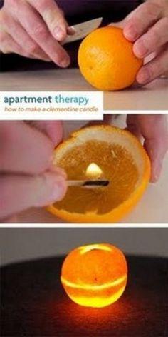 Sinaasappels branden als kaarsen. Geen lont nodig. En ze ruiken heerlijk! Youtube: how to make a Clementine candle