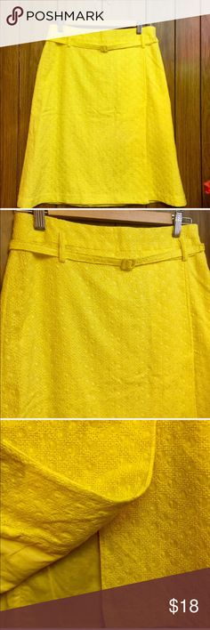 """Pretty Yellow Eyelet Side Split Skirt I'm not sure of the brand. The tag was ripped out because it was itching. From the RN number I'm pretty sure it was by Victoria Secret. It was gently worn and so gorgeous and so well made. Fully lined with a cute little belt and a side seam. A size 6 with a 32"""" waistline, 23"""" in length and 38"""" around the hips. Please See Description Skirts A-Line or Full"""