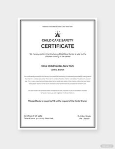 Instantly Download Child Care Safety Certificate Template, Sample & Example in Microsoft Word (DOC), Adobe Photoshop (PSD) Format. Available in A4 & US Sizes. Quickly Customize. Easily Editable & Printable. Certificate Templates, Word Doc, Childcare, Website Template, Words, Microsoft Word, Child Safety, Adobe Photoshop, Free