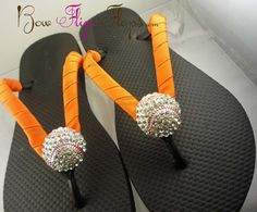 Softball Flip Flops Bling Rhinestone Buckle Player Mom Girl Boutique Sports Ribbon Flip Flops chooe your ribbon and team colors Ribbon Flip Flops, Bling Flip Flops, Wedding Flip Flops, Baseball Mom, Softball, Girls Boutique, Craft Fairs, Bows, Unique Jewelry
