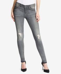 Jessica Simpson Juniors' Kiss Me Destructed Skinny Jeans - Gray 25
