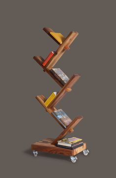 bookshelf with rollers #designeveryday