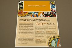 Travel Agency Flyer with Stamp Motif