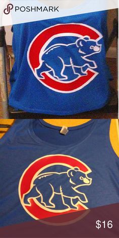 Cubs cropped tank Poly viscose 65/35, 30 single, 3.7 ounce fabric. Side-seamed. Boxy fit. Cropped body length. New without tags.  Size L/XL  Tags: crop top, tank top, ladies, flowy tank, boxy crop,chicago cubs, wrigleyville, cubs baseball, bella Tops Crop Tops