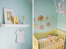 BM Robin's nest on the wall via Design Dazzle: Yellow, Aqua & Red Baby Nursery! Yellow Crib, Yellow Nursery, Teal Yellow, Pastel Nursery, Yellow Accents, Mint Blue, Aqua Color, Orange, Girl Room