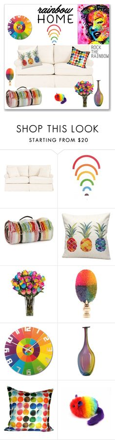 """Rainbow Home - 2"" by ludmyla-stoyan ❤ liked on Polyvore featuring interior, interiors, interior design, home, home decor, interior decorating, Ballard Designs, Tweedmill, NeXtime and Kosta Boda"