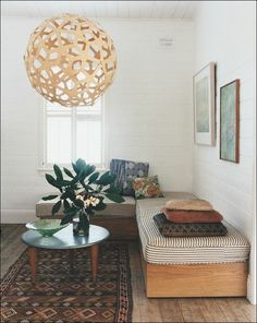 Apartment Design Collections 309: Lovely serene space with built-in bench, pendant and ethnic rug.