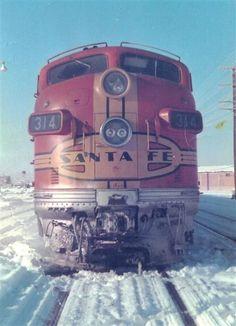 Santa Fe #314 (EMD F7a) at Gallup, New Mexico, 1966.