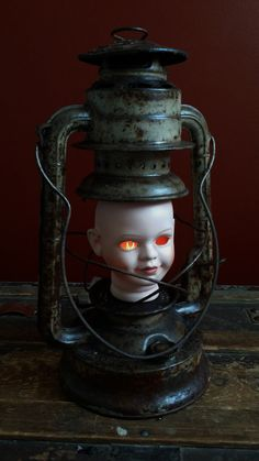"""One-of-a-kind """"Elizabeth"""" Creepy Doll Head Lamp by UrsMineNours 25% Off Any Order w/code THANKYOU25 @ checkout"""