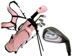NEW RH PINK GIRLS X7 PINK JUNIOR KIDS GOLF CLUB SET W/ BAG HYBRID IRON AGES 9-12