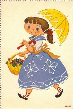 Brown-haired Girl with Blue Skirt & Umbrella Printable Vintage Sewing Card - Print on Cardstock Paper, Hole Punch & use string or wool for Lacing/Sewing #vintage #sewing #children