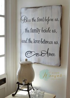 Bless the food before us, the family beside us, and the love between us. Amen Unique hand-painted sign made from reclaimed barn wood by Aimee Weaver Designs Source by Bless the food befo… Table Palette, Bless The Food, Wood Crafts, Diy Crafts, Diy Wood, Reclaimed Barn Wood, Hand Painted Signs, Pallet Signs, Do It Yourself Home