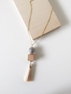 Wood & Stone Tassel Necklace – curious creatures