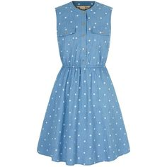 Yumi Polka Dot Print Denim Shirt Dress ($91) ❤ liked on Polyvore featuring dresses, blue, women, retro dress, sleeveless shirt dress, denim shirt dress, sleeveless skater dress and blue knee length dress