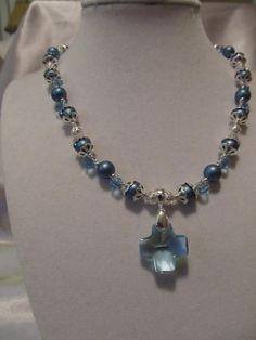 Ice blue Swarovski crystal cross necklace by across2share on Etsy, $58.00