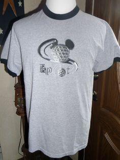 Mickey Mouse SILVER Logo Epcot Center T-Shirt LG Gray Walt Disney Retro Vintage #DISNEYLAND #EmbellishedTee