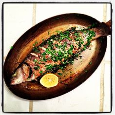 Whole roasted trout.