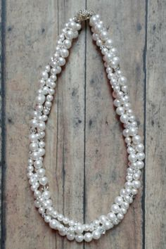 Jamie necklace: Twisted pearl, rhinestone and crystal statement necklace // click to shop