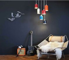 TANK LIGHT pendant light from Castor. Made from recycled fire extinguishers and high-gloss automotive paint.