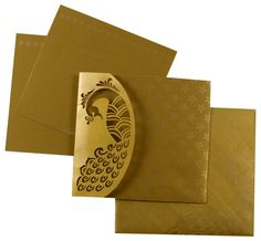 D-5554, Gold Color, Shimmery Finish Paper, Laser Cut Cards, Designer Multifaith Invitations.