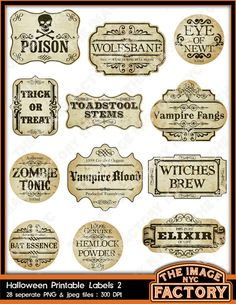 Halloween Printable Frames and  Labels, for all your digital crafting needs. Download and Print (TIFNYC-HWNLBL-2). $3.50, via Etsy.