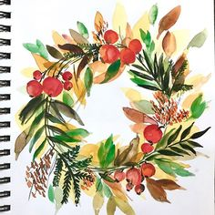 A wreath for Fall! Inspired by someone whose work i greatly, greatly admire. is an incredibly talented artist, and her work is… Wreath Watercolor, Inspiration, Drawings, Wood Art, Watercolor Paintings, Painting, Color Me, Card Art, Art Inspiration