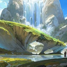 Fantasy Art Landscapes, Landscape Drawings, Fantasy Landscape, Landscape Illustration, Landscape Art, Landscape Paintings, Illustration Art, Environment Painting, Environment Design