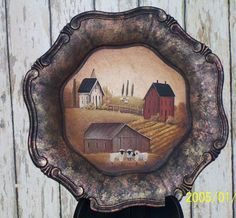 Beautiful Hand Painted Plate Primitive Folk Art by Raggedy Jan on Etsy Primitive Plates, Primitive Folk Art, Primitive Crafts, Hand Painted Plates, Wooden Plates, Country Paintings, Online Painting, Tole Painting, Painting Patterns