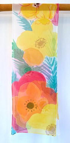 Silk Scarf Hand Painted Etsy Floral Scarf by SilkScarvesTakuyo