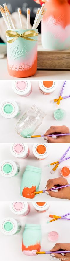 This DIY mason jar is the perfect storage solution or Teacher's gift! To DIY: 1) Paint a mason jar one solid color and let dry completely. 2) Paint on a second color, starting from the bottom, going about 2/3 of the way up the jar. Let dry completely. 3) Paint on a final color, starting from the bottom, and go about 1/3 of the way up the jar. 4) Tie on ribbon and gift!