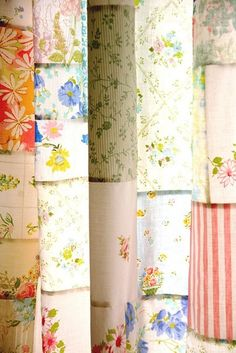 New Wives Club #17: pretty curtains made from a patchwork of vintage sheets