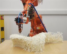 larger-scale 3d printing: an ABB robotic arm continuously extrudes a voxelized chair | curvoxels