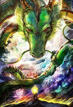 "Shenron, Japanese pronunciation of ""Shénlóng"", lit. ""Divine Dragon"" or ""Dragon God"") is a magical dragon. In the English dub of Dragon Ball Z, he is mostly called the ""Eternal Dragon"". Dragon Ball Gt, Art Anime, Anime Kunst, Manga Anime, Sheng Long, Dragons, Z Arts, Fan Art, Fanarts Anime"