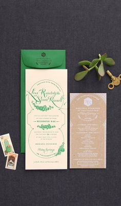 Green and blind letterpress custom wedding invitation with kraft info card; Palm Springs succulents and Moroccan style