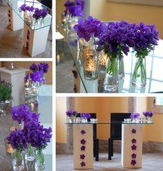 modern altar, purple orchids