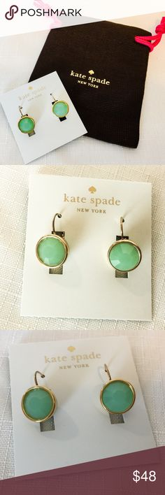 """New Kate Spade 12K Crystal Drop Earrings in Mint! I love how mint and emerald earrings look.  I guess I have to thank Angelina Jolie for her appearance at the Oscars some years back. These are mint colored beauties and they can be used on both casual and dressy outings.  They have a very classic appearance and they simply look elegant.  Approximately 0.5"""" in length; gold plated kate spade Jewelry Earrings"""