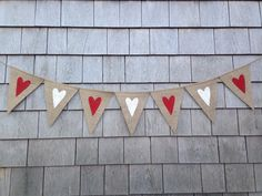 Heart Banner, Valentines Day Decor, Valentines Banner, Heart Garland, Heart Bunting, Valentines Garland Photo Prop, Burlap Rustic Valentines by IchabodsImagination on Etsy https://www.etsy.com/listing/216393675/heart-banner-valentines-day-decor