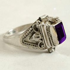 Secret Compartment Poison Ring with Deep Purple by Spoonier